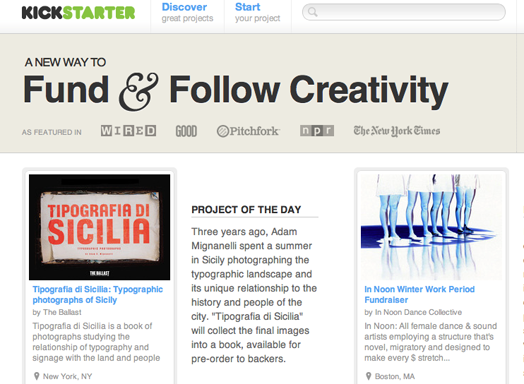 KICKSTARTER, a new way to fund and follow creativity.